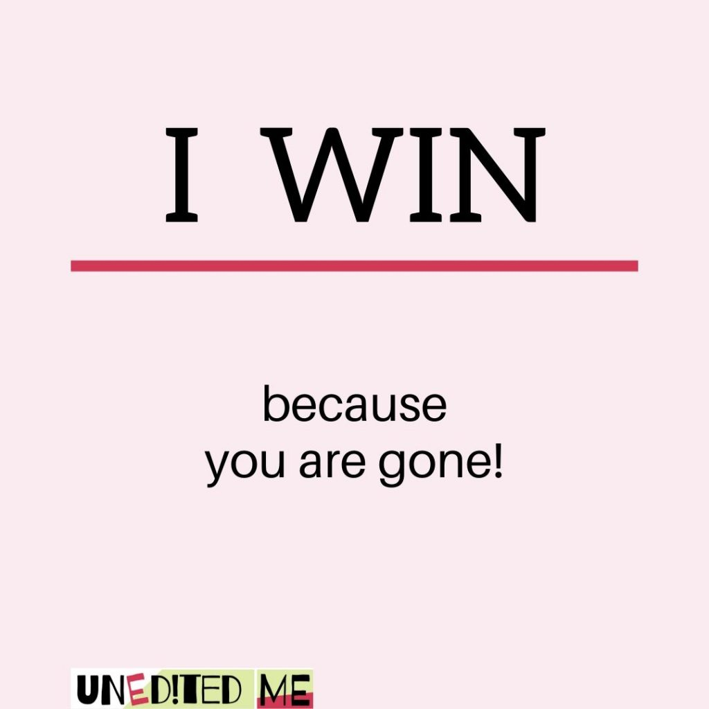 Narsissistic Ex _ I win because you are gone